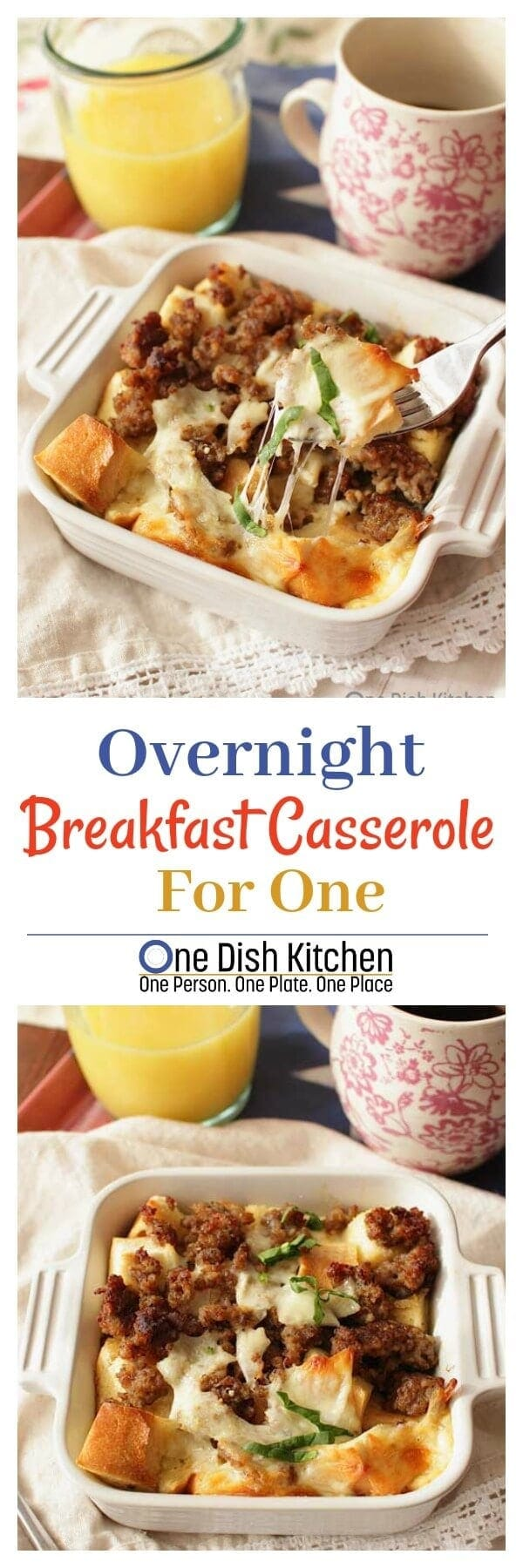 Mix together sausage, cheese, an egg, milk and bread and chill overnight for an easy and delicious single serving Breakfast Casserole For One.   ONE DISH KITCHEN