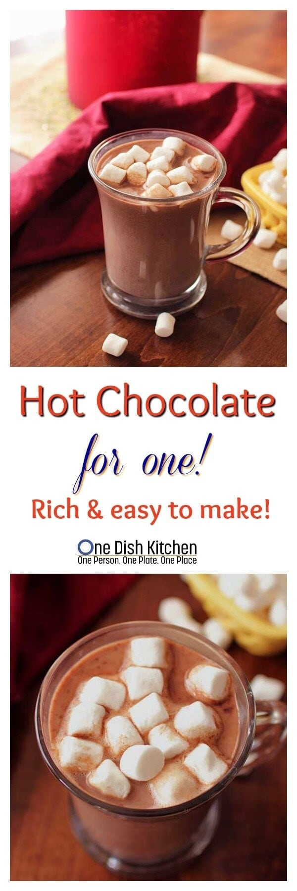 Rich, easy to make homemade hot chocolate for one. A single serving of the richest, most delicious hot chocolate. Made with milk, cocoa powder and sugar.   One Dish Kitchen