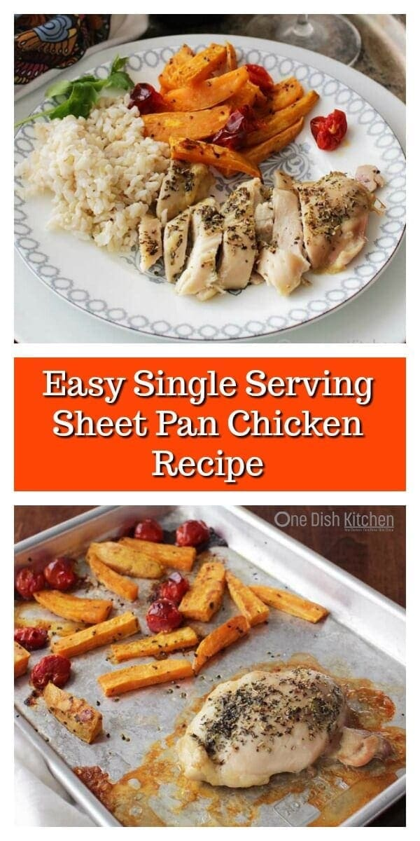 This easy sheet pan chicken recipe is what dinner dreams are made of! One chicken breast (or thigh) cooks alongside your favorite vegetables all on one sheet pan for minimal cleanup. It's a fantastic dinner recipe for one! | One Dish Kitchen