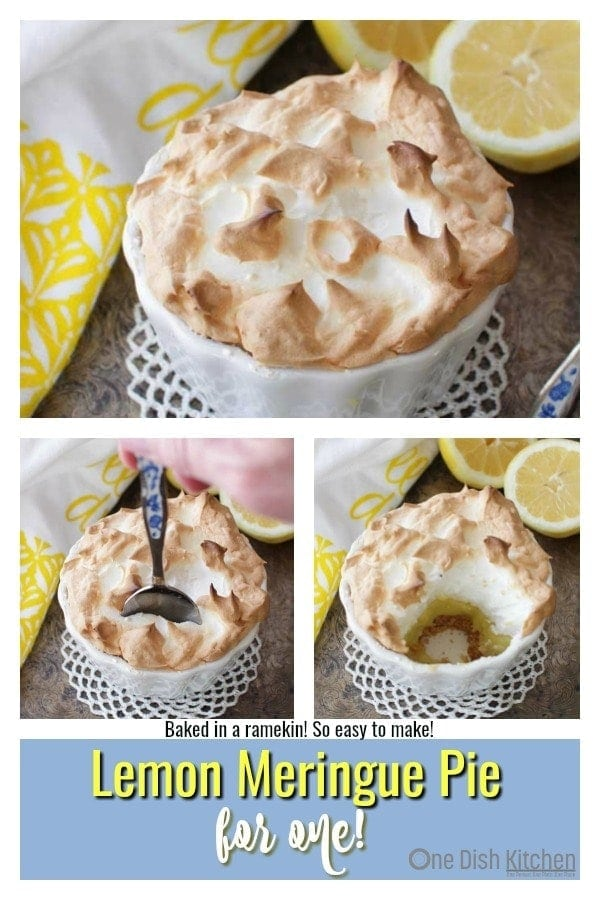Lemon Meringue Pie For One baked in a ramekin. This single serving Lemon Meringue Pie has a big fluffy toasted meringue topping, a perfectly balanced sweet and tart lemon filling and a crisp graham cracker crust. Easy to make and the perfect size for anyone cooking for one. | One Dish Kitchen | #pie #lemonmeringue #singleserving #recipeforone #cookingforone #dessert #minidessert