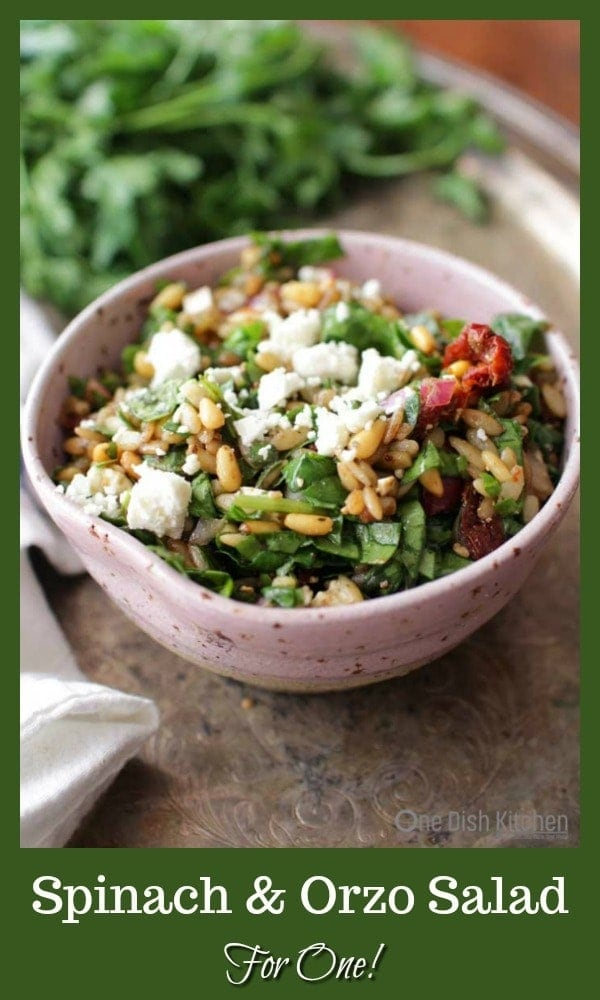 This easy to make Spinach and Orzo Salad For One is filled with creamy Feta cheese, toasted pine nuts, chopped red onions, sun-dried tomatoes and Kalamata olives. Tossed with a simple balsamic vinaigrette, it's sure to become your very favorite single serving salad! | One Dish Kitchen | #salad #singleserving #vegetarian #recipesforone #cookingforone #spinach #orzo #pastasalad