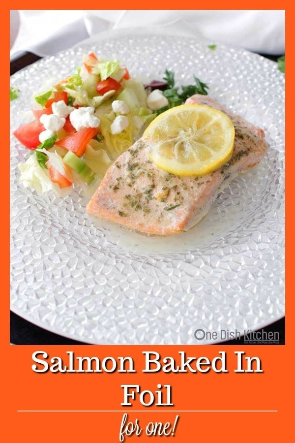 Tender flaky salmon that's ready in minutes! #salmon #singleserving #recipeforone #seafood