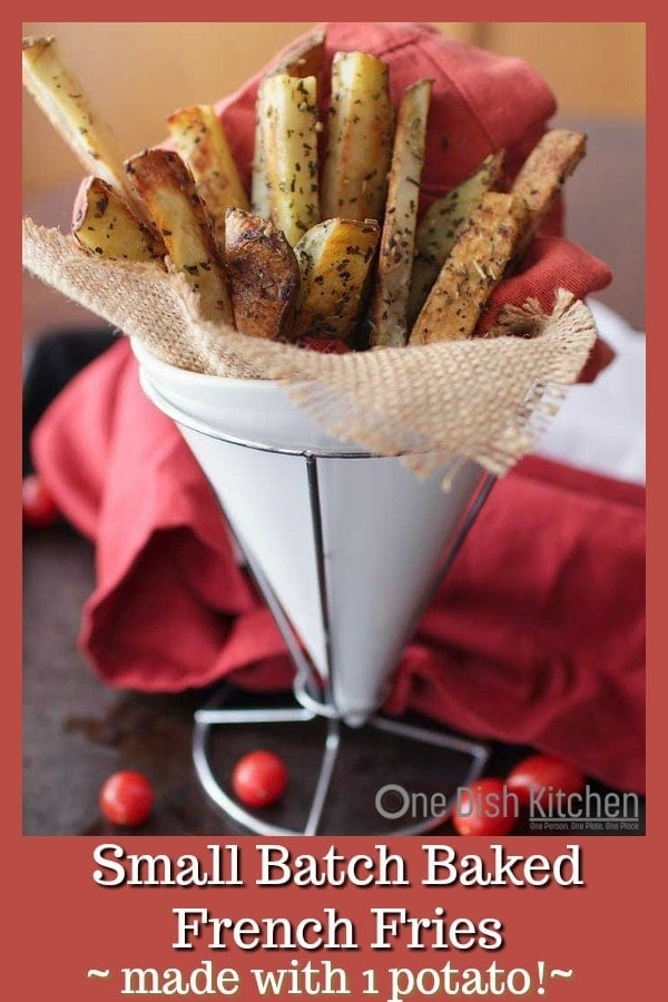 Thick cut homemade baked french fries recipe made with 1 russet potato and cooked in the oven. This recipe for small batch french fries yields the perfect amount for one person. These baked oven fries are crispy on the outside, creamy on the inside and perfect for dipping in your favorite sauce. | One Dish Kitchen | #smallbatch #frenchfries #potatorecipes #cookingforone #recipeforone