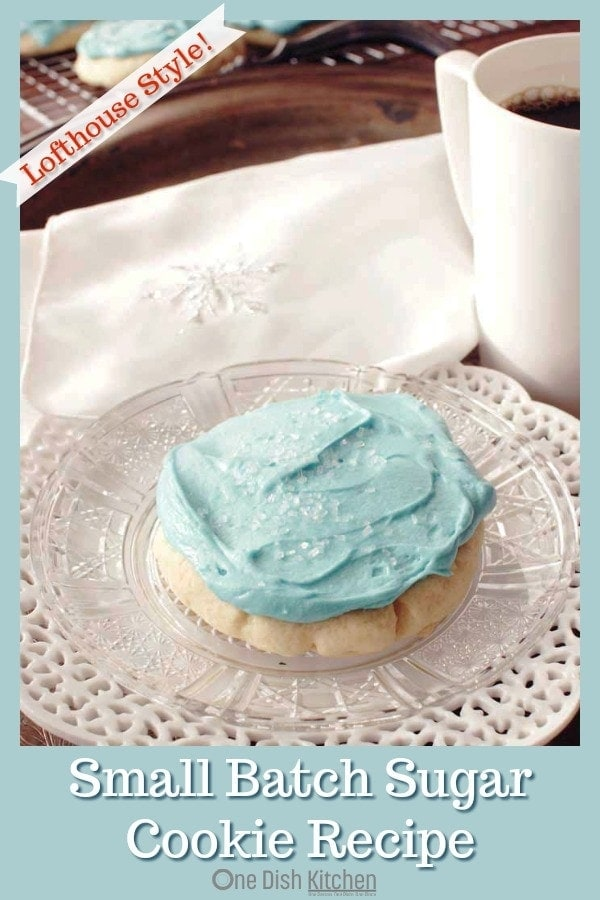 This is the best sugar cookie recipe! This small batch recipe is definitely one for your recipe box. These soft, lofthouse style sugar cookies melt in your mouth and are topped with a rich buttercream frosting. | One Dish Kitchen | #sugarcookies #smallbatch #cookie #cookierecipe #lofthousecookies #bakerycookies #dessert #holidays #holidaybaking #Christmascookies