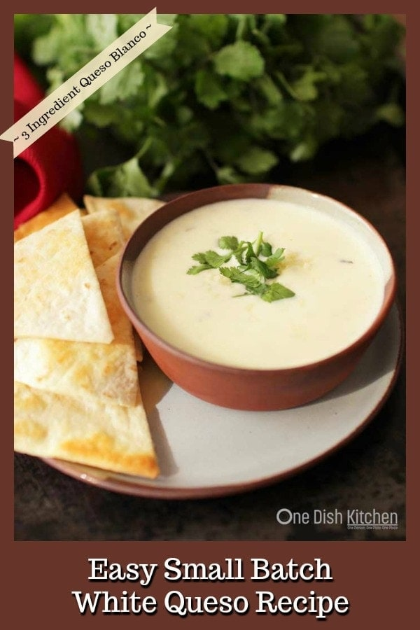 This white queso recipe is our favorite! It's creamy, easy to make, and you only need 3 ingredients. Made without Velveeta, this queso dip is one you'll want to make over and over again. Break out the chips, this queso blanco is sure to become your favorite too! | One Dish Kitchen