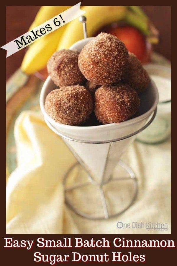 Small Batch Cinnamon Sugar Donut Holes | One Dish Kitchen