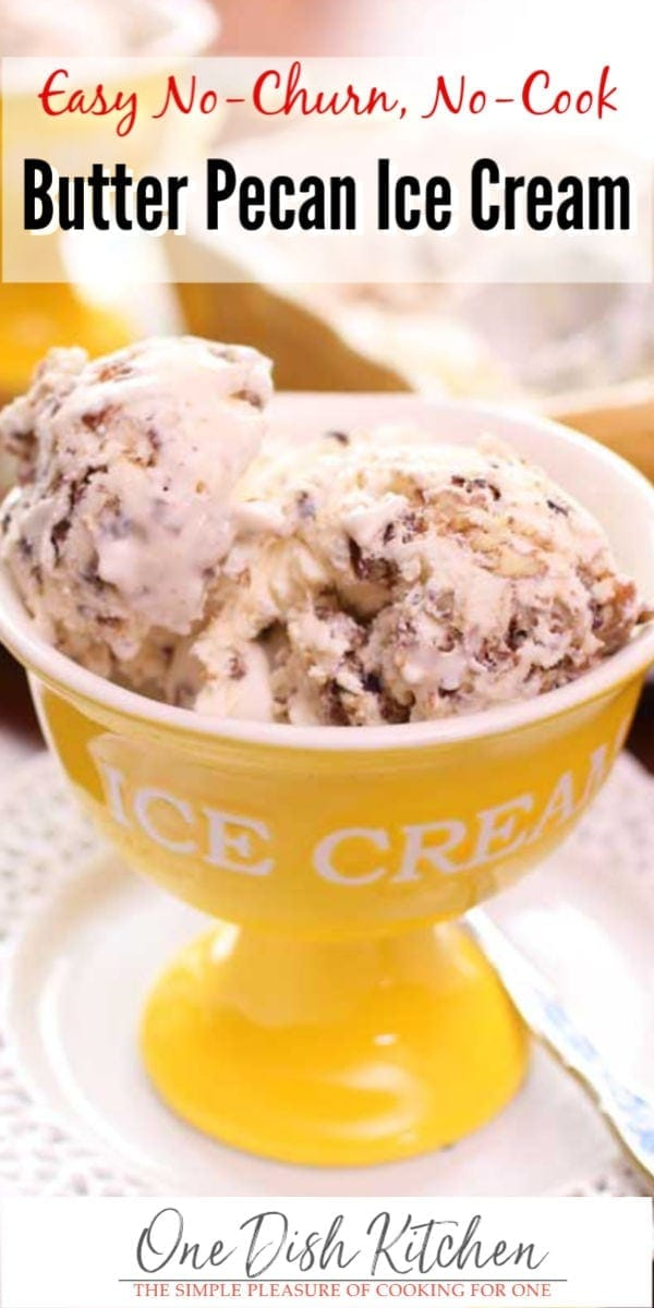 This fantastic Butter Pecan Ice Cream recipe will soon become your favorite! – No machine needed to make this rich, creamy, egg free, no churn ice cream. This ice cream is easy to make and has the wonderful butter pecan flavor we love.
