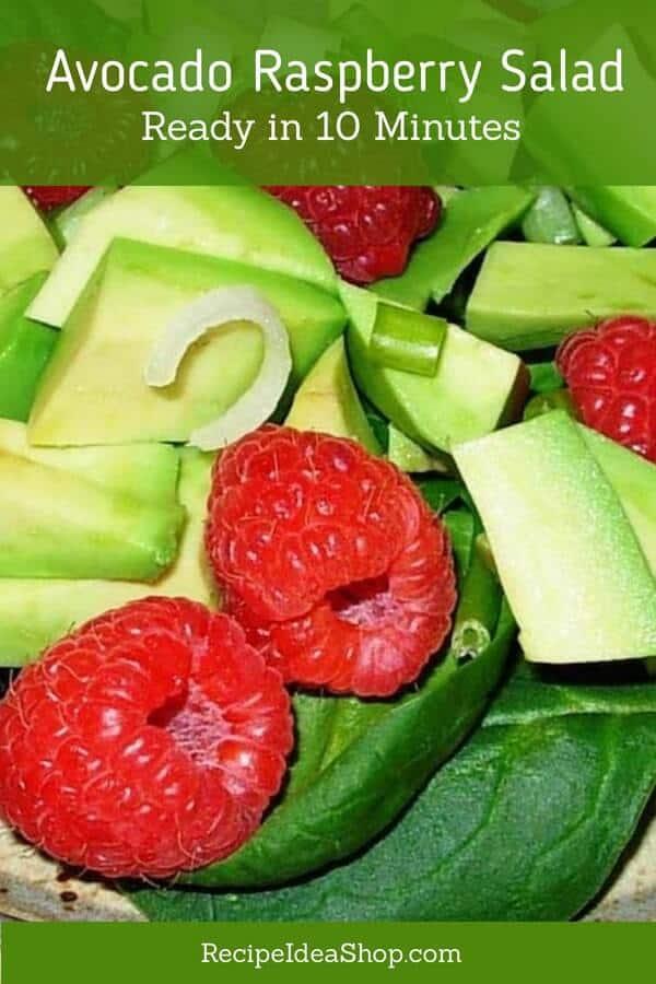 Avocado Raspberry Salad. Beautiful. Scrumptious. Good for you. #avocadoraspberrysalad #avocadorecipes #simplesalads #simplerecipes #easyrecipes #recipes #glutenfree #recipeideashop