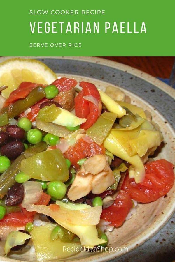 Slow Cooker Vegetarian Paella (Vegan). You're gonna love it. #vegetarianpaella #slowcookerrecipes #recipes #comfortfood #glutenfree #vegan #recipeideashop