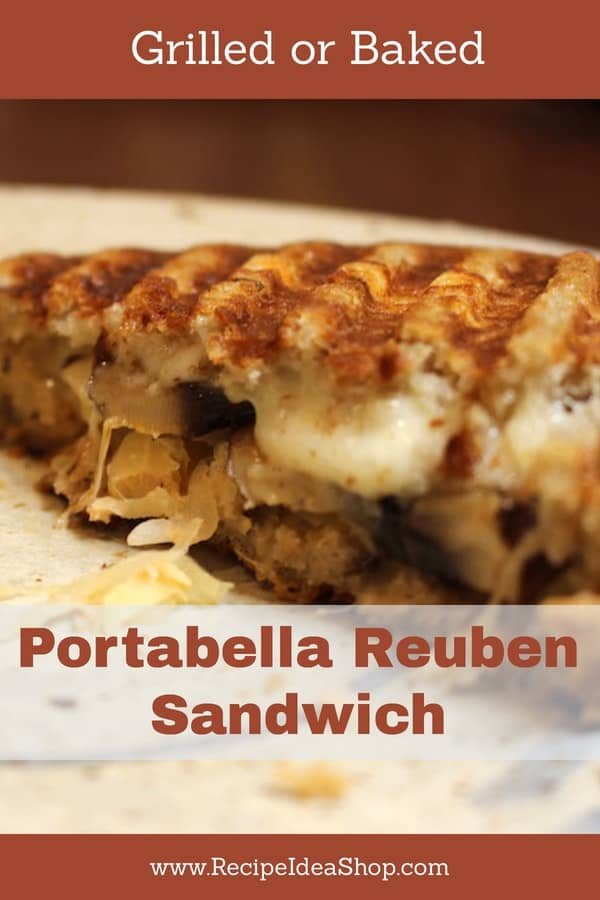 Just in time for St. Patrick's Day—Portabella Reuben Sandwich. Perfect! #portabellareuben; #portobelloreuben; #portobellorecipes; #portabellarecipes; #isitportobelloorportabella; #recipes; #glutenfree; #recipeideashop