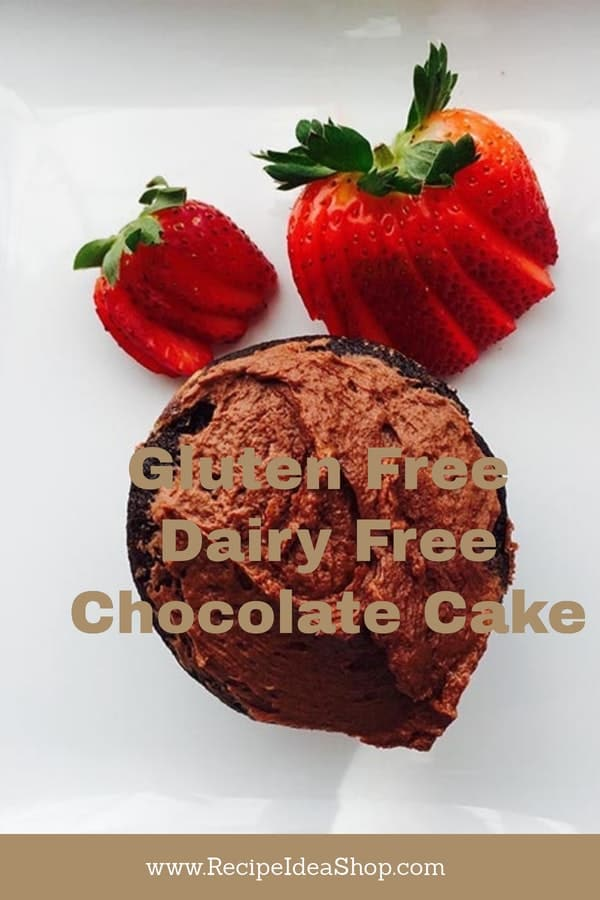 Gluten Free Chocolate Cake shown as a cupcake with a strawberry.. #glutenfreechocolatecake; #glutenfreedairyfreechocolatecake; #recipeideashop