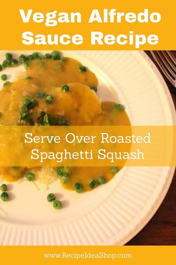 Vegan Alfredo Sauce over Roasted Spaghetti Squash and Topped with Mint & Candied Ginger. Oh my! #veganalfredosauce; #veganrecipes; #spaghettisquash; #glutenfree; #dairyfree; #recipes; #recipeideashop