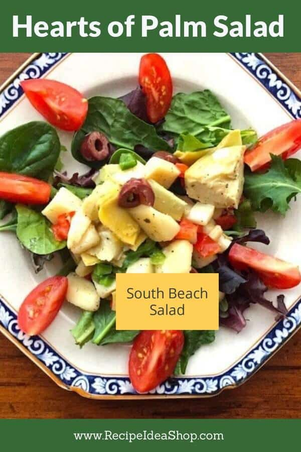 Hearts of Palm Salad. Divine. #heartsofpalmsalad #southbeachsalad #southbeachdiet #eatyourcolors #artichokes #saladrecipes #vegan #glutenfree #recipes #recipeideashop