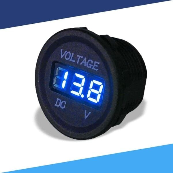 Single display 12V voltmeter angle color blue LED S 600x600 - Single 12VDC Voltmeter Round Cigarette Lighter Size