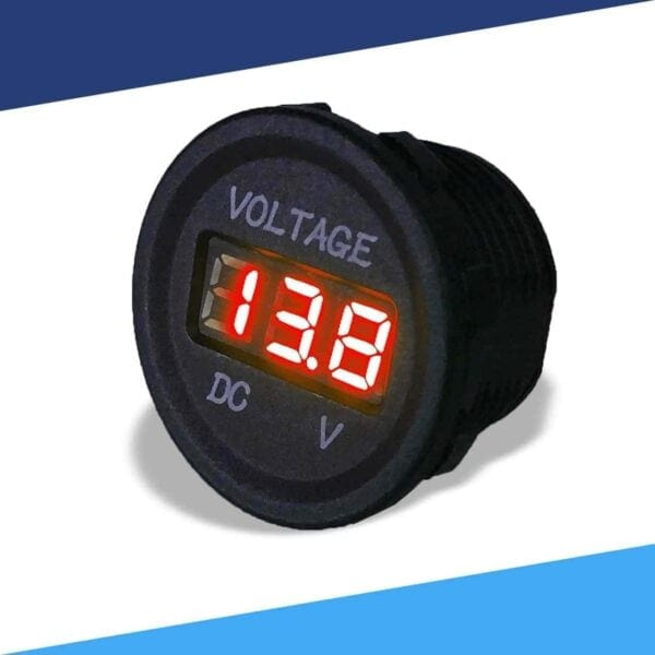Single display 12V voltmeter angle color red S 600x600 - Single 12VDC Voltmeter Round Cigarette Lighter Size