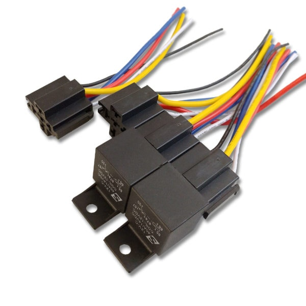 Automotive Relay Four Pack Disassembled Sparked Innovations 40A 14VDC 12V 1 600x600 - 40A Automotive Relay 12VDC Coil w/ Wire Harness