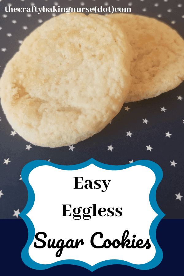 Easy eggless sugar cookies are chewy and delicious.  They take about 15 minutes to make, or 5 if you're only after a cookie dough recipe to eat raw.