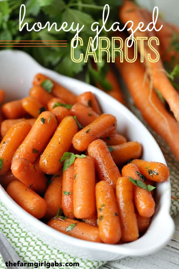 These Honey Glazed Carrots are a simple side dish to serve for any meal. They make a great holiday recipe for Thanksgiving and Easter too. #Carrots #SideDish #VegetableRecipe #Thanksgiving #HolidayRecipe