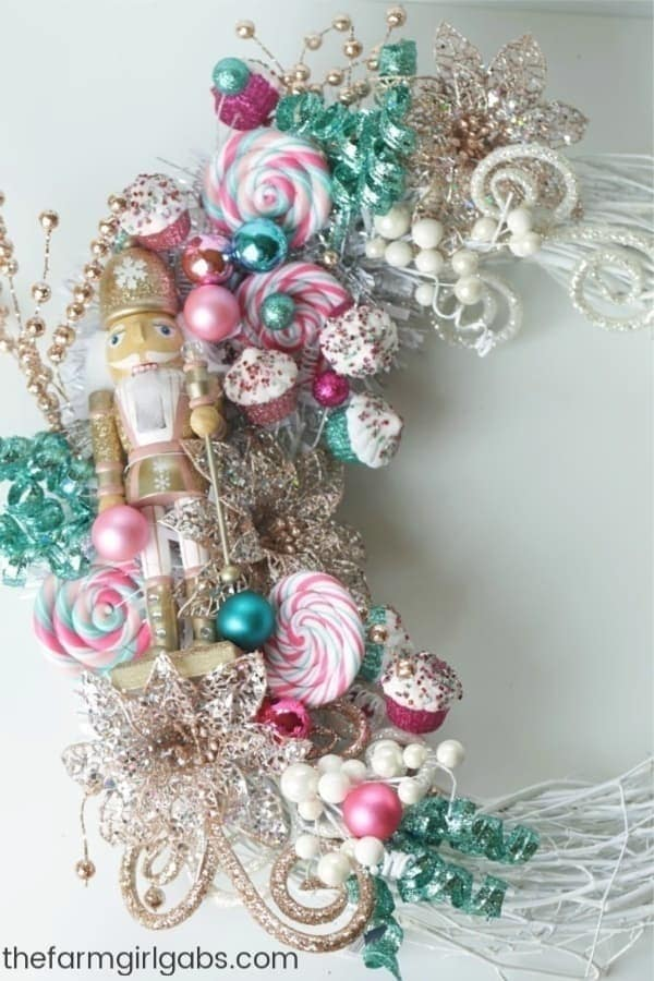 This whimsical Nutcracker Wreath is an easy DIY craft you can make to celebrate the Christmas Season. #TheNutcracker #Christmas #Wreath #ChristmasCraft #ChristmasDecoration #NutcrackerBallet