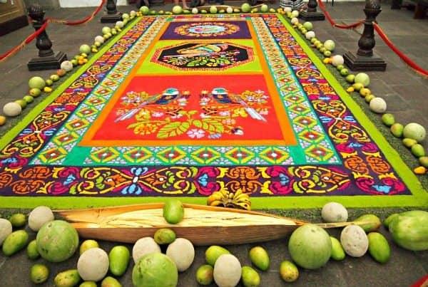 Sawdust carpet in Antigua Guatemala