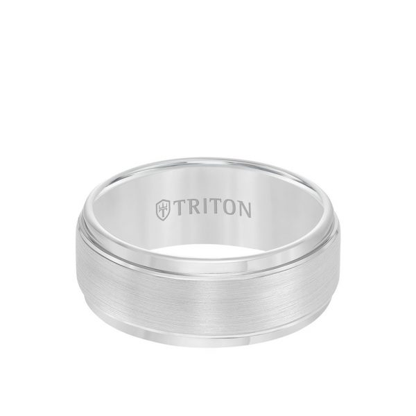 9MM Tungsten Carbide Ring - Brushed Finish and Step Edge - 11-2096-9