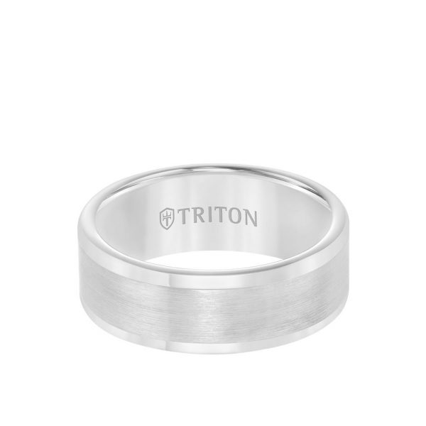 8MM Tungsten Carbide Ring - Satin Finish Flat Center and Round Edge - 11-2118-8