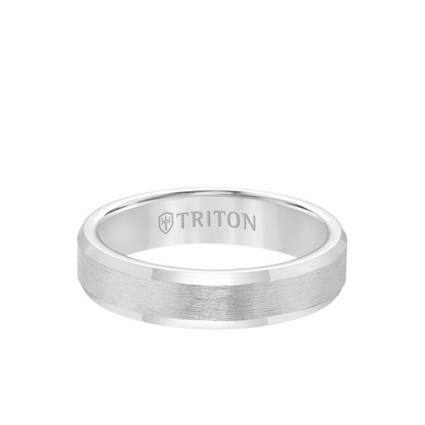 5MM Tungsten Carbide Ring - Brush Finish and Bevel Edge - 11-3617-5