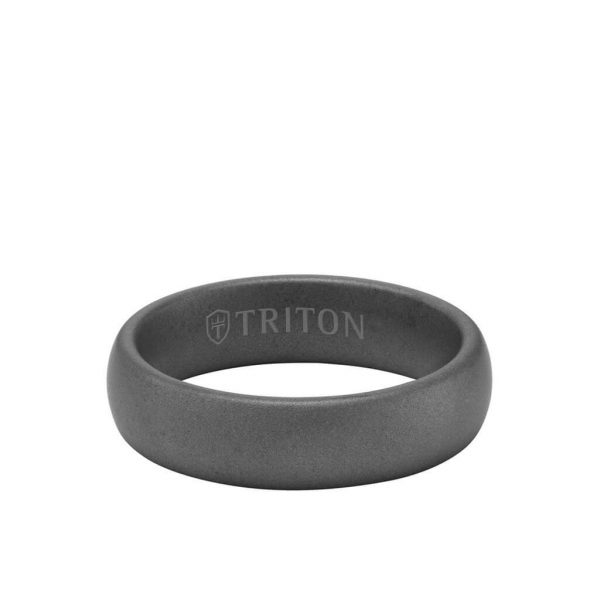 6MM Tungsten Carbide Ring - Light Sandblasted Finish and Rolled Edge 11-6055-6
