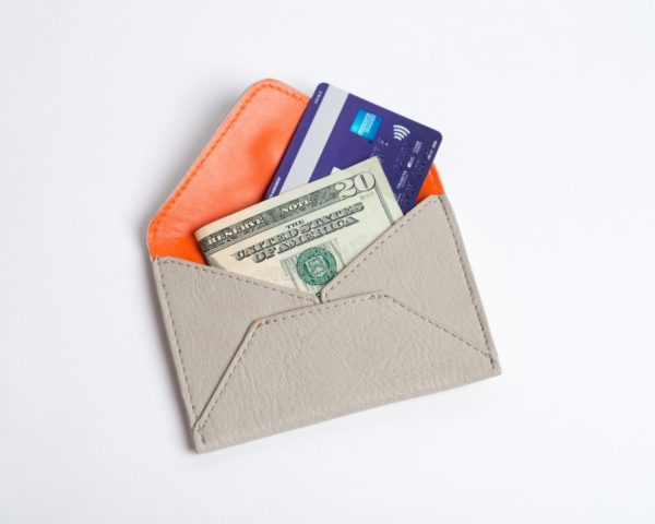 metrocard holder and credit card wallet in gray