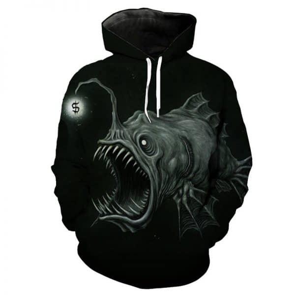Chill Hoodies Black Fishing Hoodie Scary Fish Unisex Adult Sweatshirt