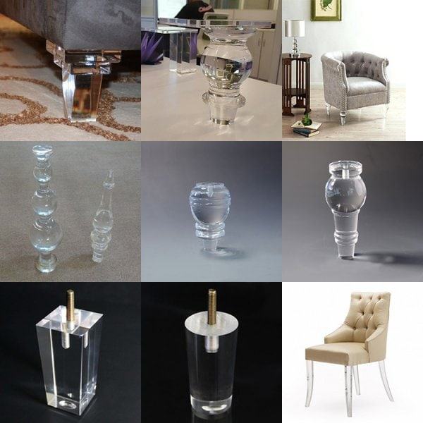 Acrylic Furniture Legs for sofa, Cabinet, armchair, cupboard, couch and etc.