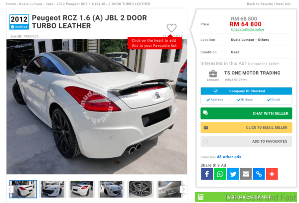 2012 Peugeot RCZ classifieds