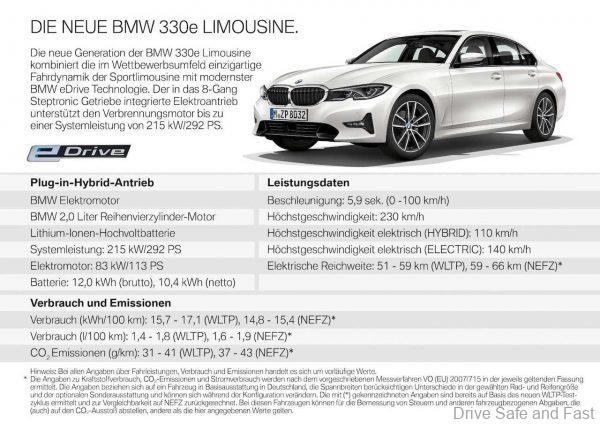 BMW 330e Plug-In Hybrid specifications