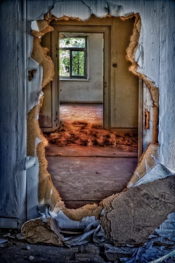 ruin, hole, decay