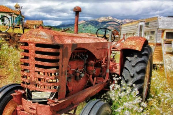 tractor, old, antique