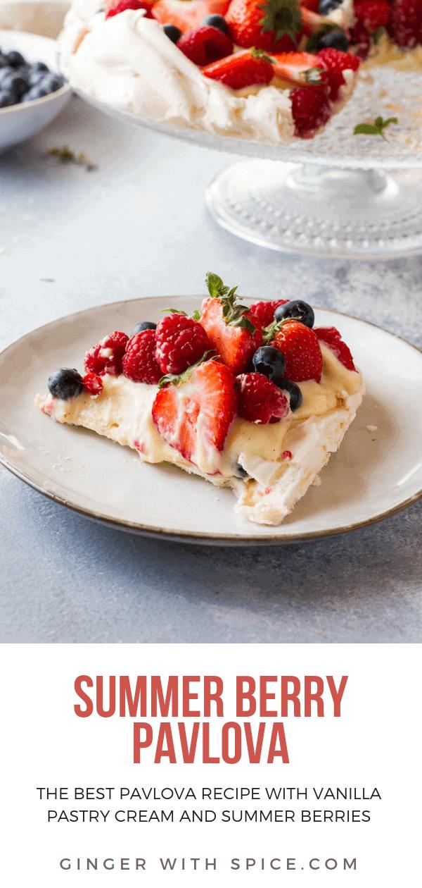 Pinterest pin of The Best Summer Berry Pavlova Cake