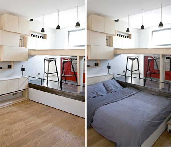 Hidden bed under raised floor from architect Juliena Bucet