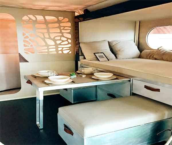 modern interior of RV with slide-out table top