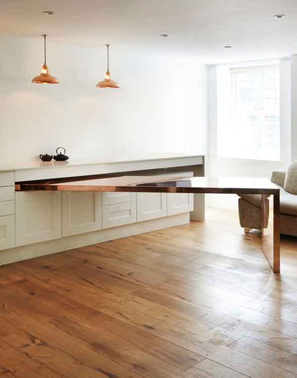 Fold-out dining table inside kitchen