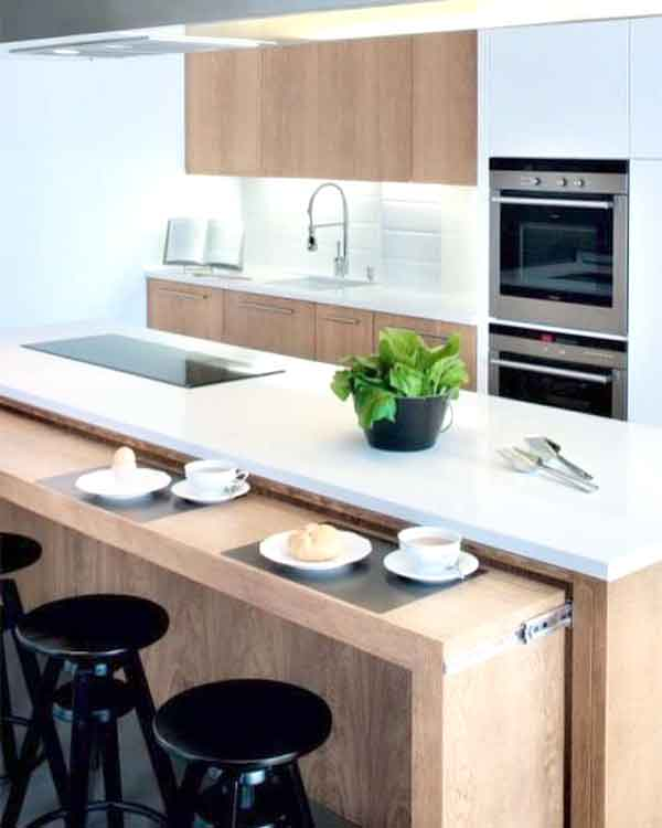 Kitchen counter space for dining (extendable counter space)