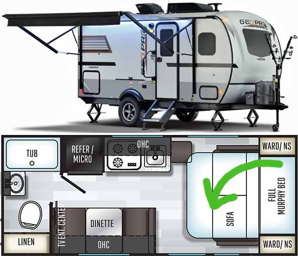 Rockwood RV with murphy bed system