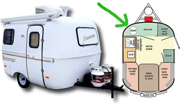 Scamp tiny camper with full-size toilet in the front
