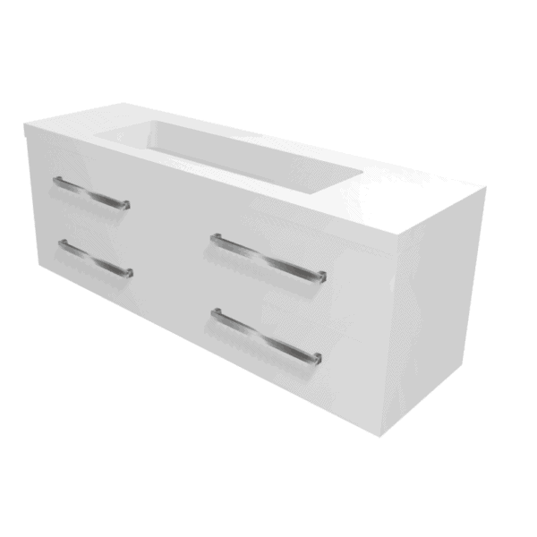 Strata 1500 white vanity polymarble trough top Henry Brooks