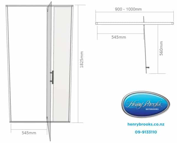 Shower door dimensions 900-1000 henry brooks