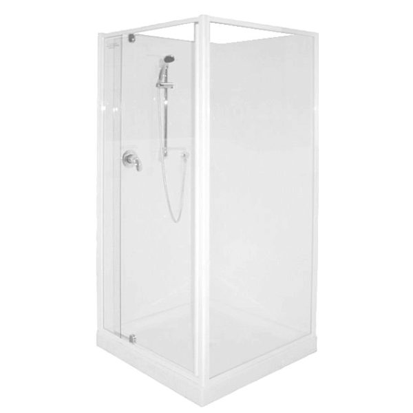 900 x 900 corner sq shower white frame