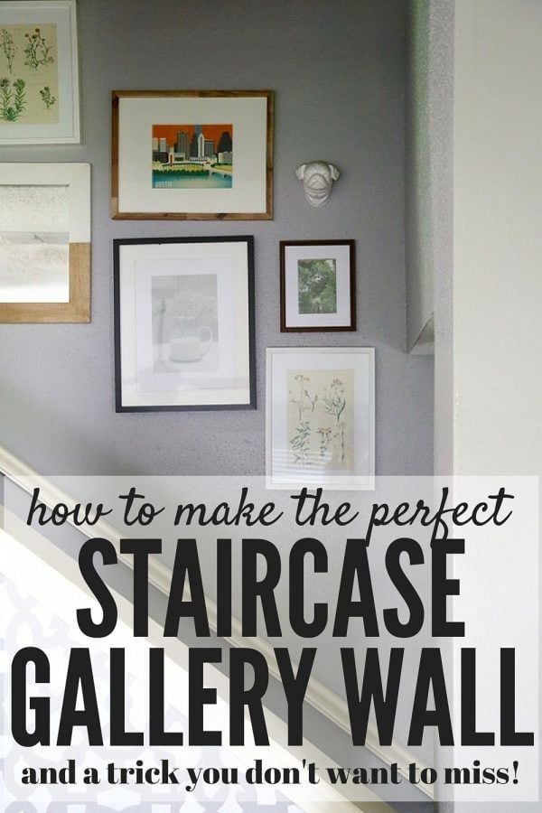 Want to know the secret to the perfect gallery wall every time? This post will tell you exactly how to achieve an awesome staircase gallery wall, and it has a trick to make hanging anything much easier!