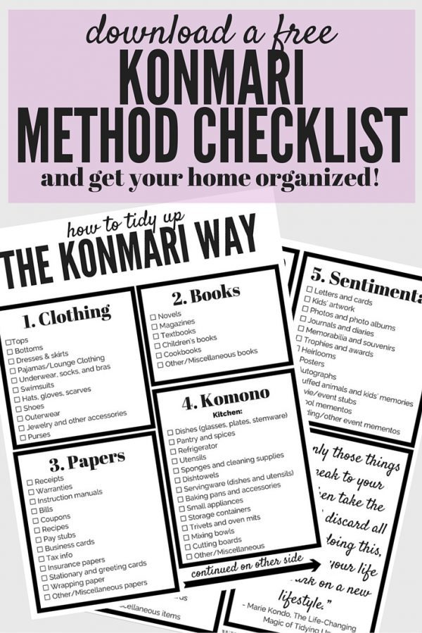 Graphic with a KonMari Organization Checklist and text overlay - Download a FREE Konmari Method Checklist and Get Your Home Organized