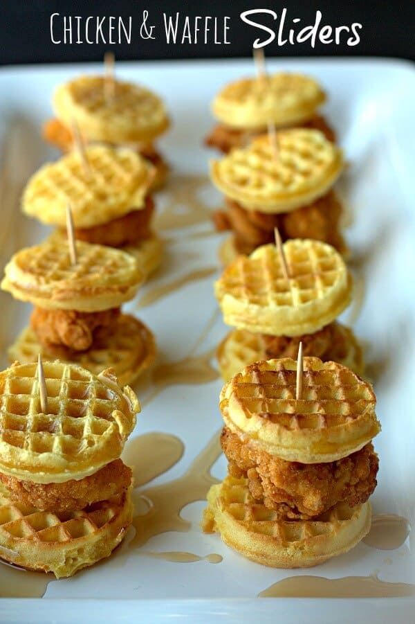 Easy Super Bowl Appetizers - Chicken and Waffle sliders, topped with drizzled syrup and held together with toothpicks