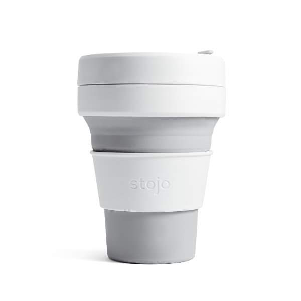 stojo Pocket Cup - faltbarer Coffee to go Becher in Grau (dove)