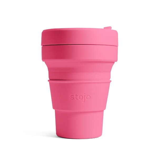 stojo Pocket Cup - faltbarer Coffee to go Becher in Pink (peony)